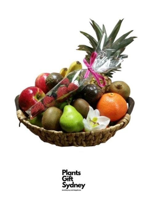 Fresh in-season Fruit Gift Basket. Perfect for a get-well, thank you,